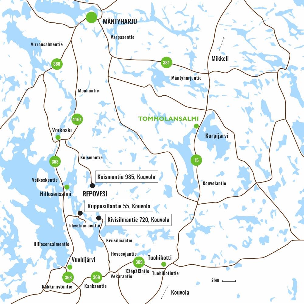 Repoveden reittikartta