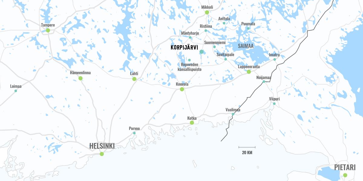 Korpijärven sijainti Suomessa